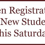 Open Registration for New Students This Saturday